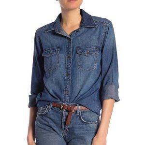 Current Elliot Denim Brass Button Jean Shirt 2 M